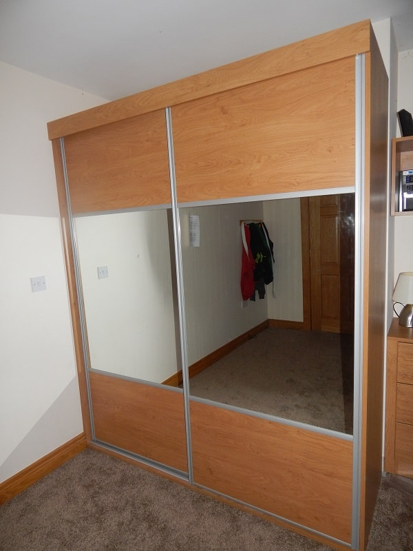 Oak slide wardrobe